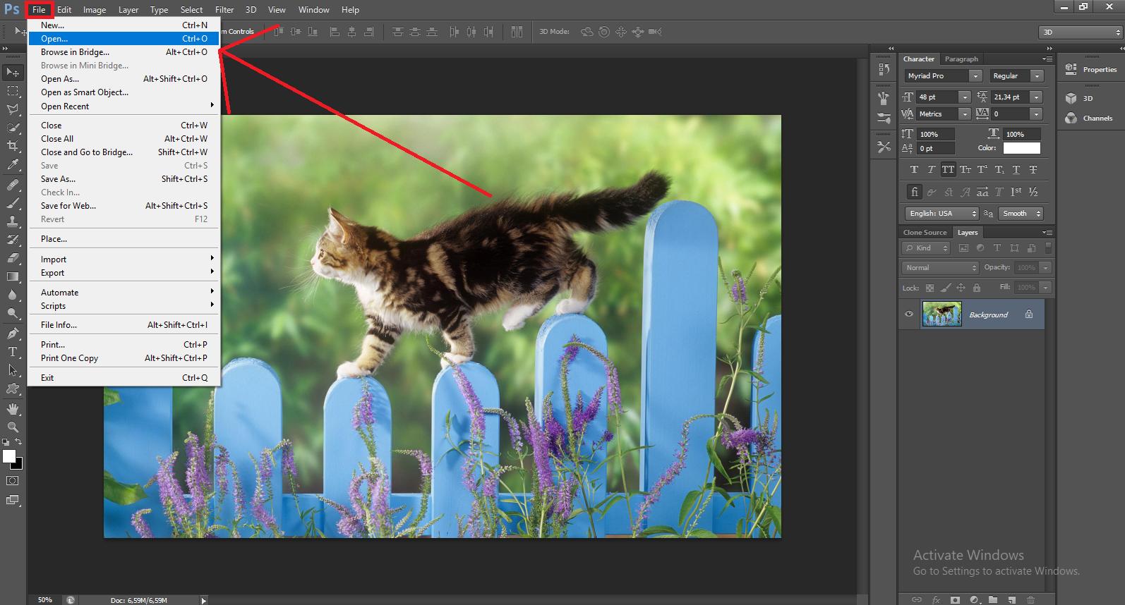 Bước 1: Trước tiên bạn mở ứng dụng Photoshop lên, rồi Open file ảnh vào Photoshop. Sau đó nhấn Ctrl + J để nhân đôi Layer .