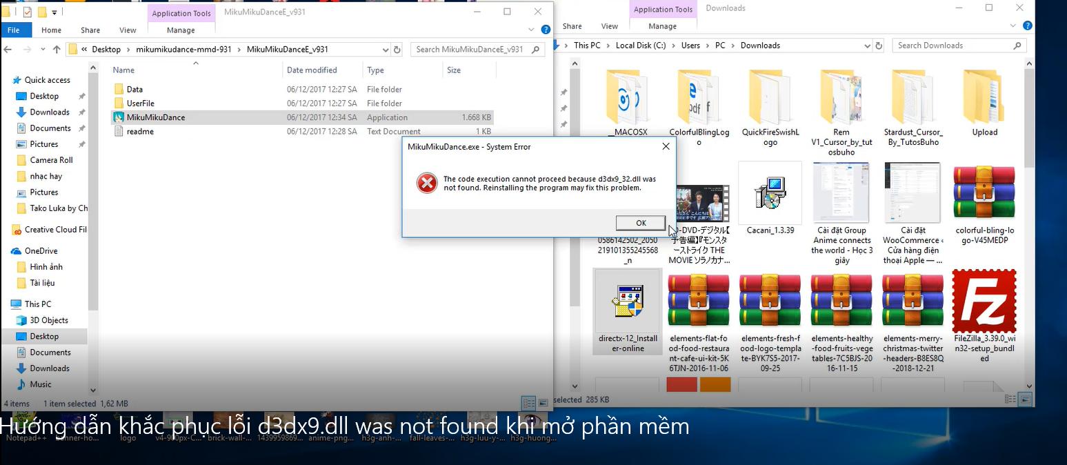 Khắc phục lỗi d3dx9 dll was not found khi mở phần mềm