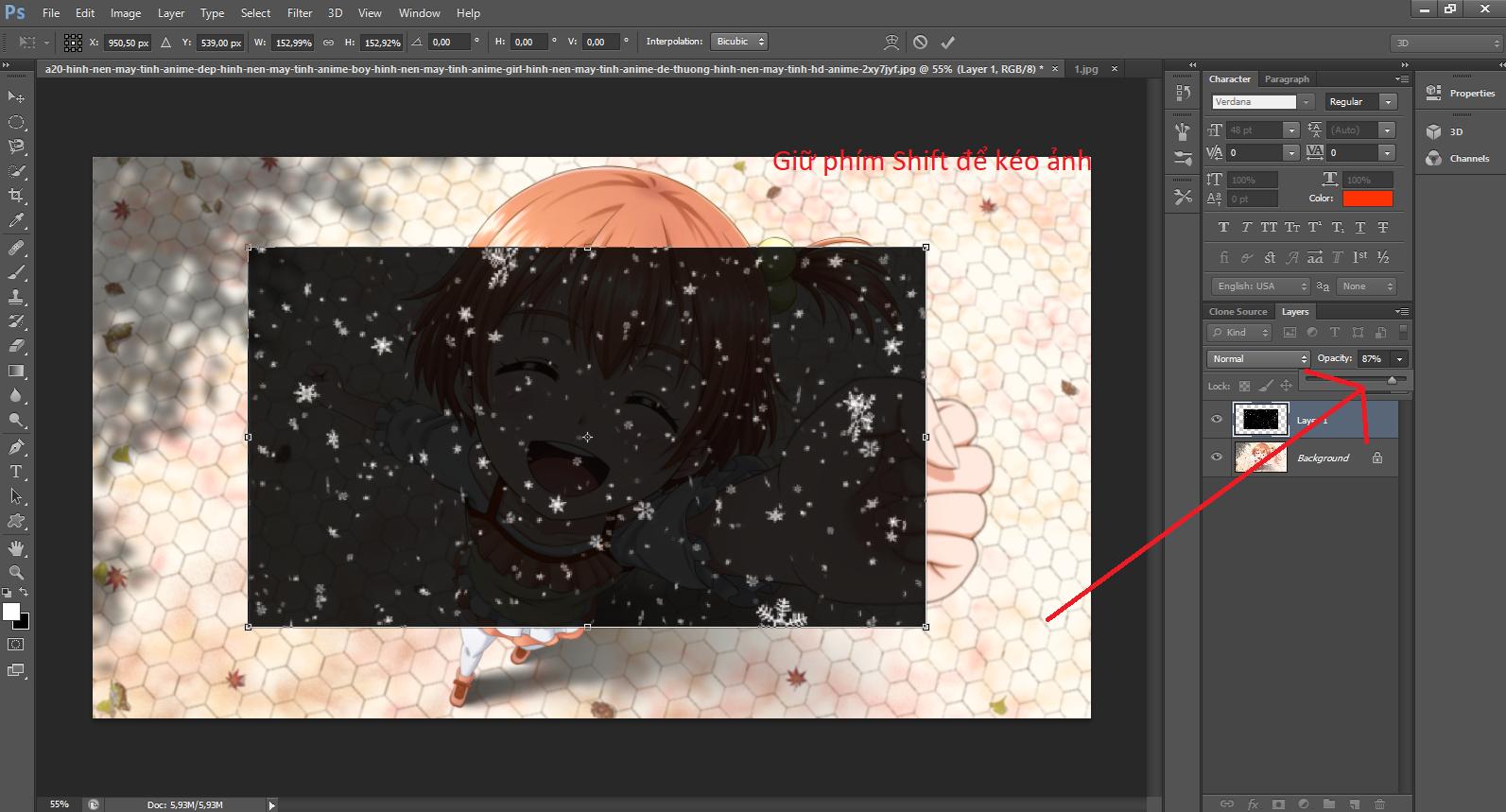 Bước 3: Sau khi căn chỉnh bông tuyết như ý, bạn click chọn hiệu ứng Screen để lọc các vùng màu đen và giữ các bông tuyết trên ảnh.