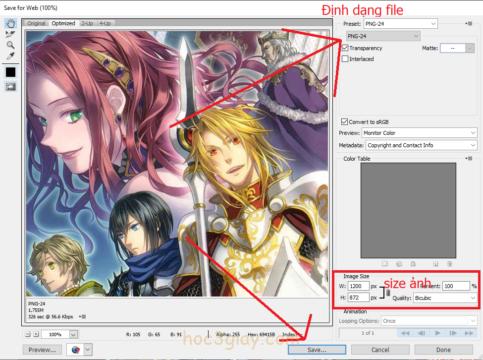 Hướng dẫn lưu file ảnh trong Adobe Photoshop