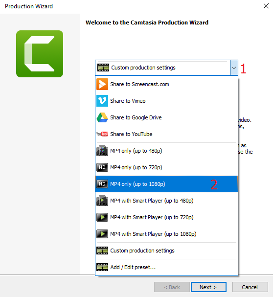 Hướng dẫn xuất file video trong phần mềm Camtasia 9