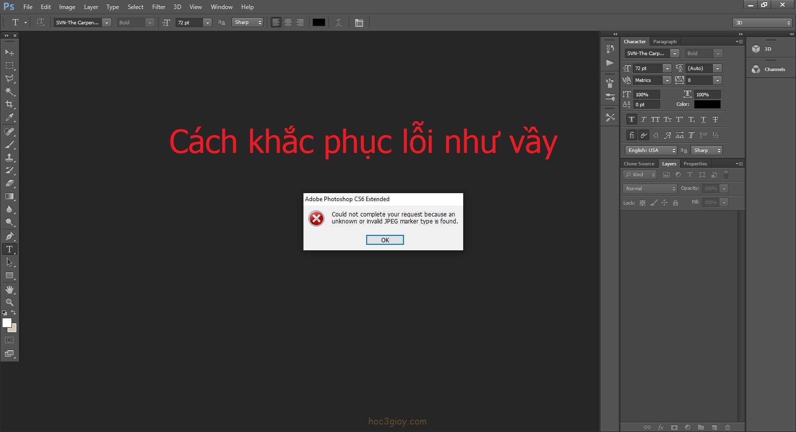 Cách khắc phục lỗi không mở được ảnh trên Photoshop