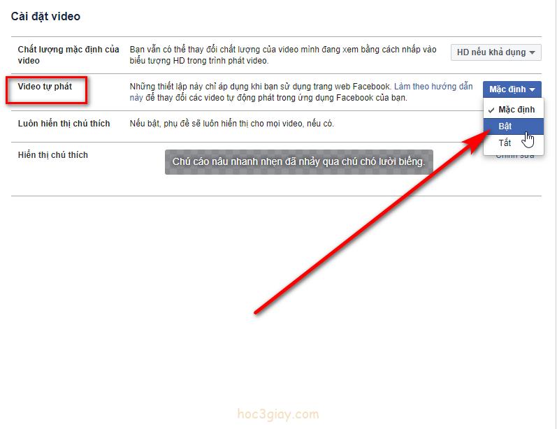 Hướng dẫn bật tắt tự động phát video trên facebook