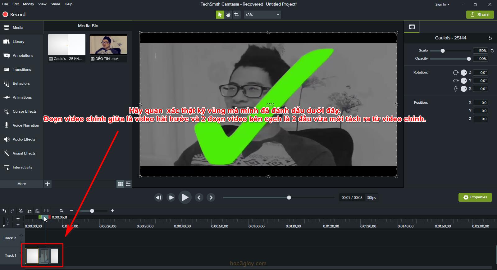 Hướng dẫn chèn video hài hước bằng camtasia