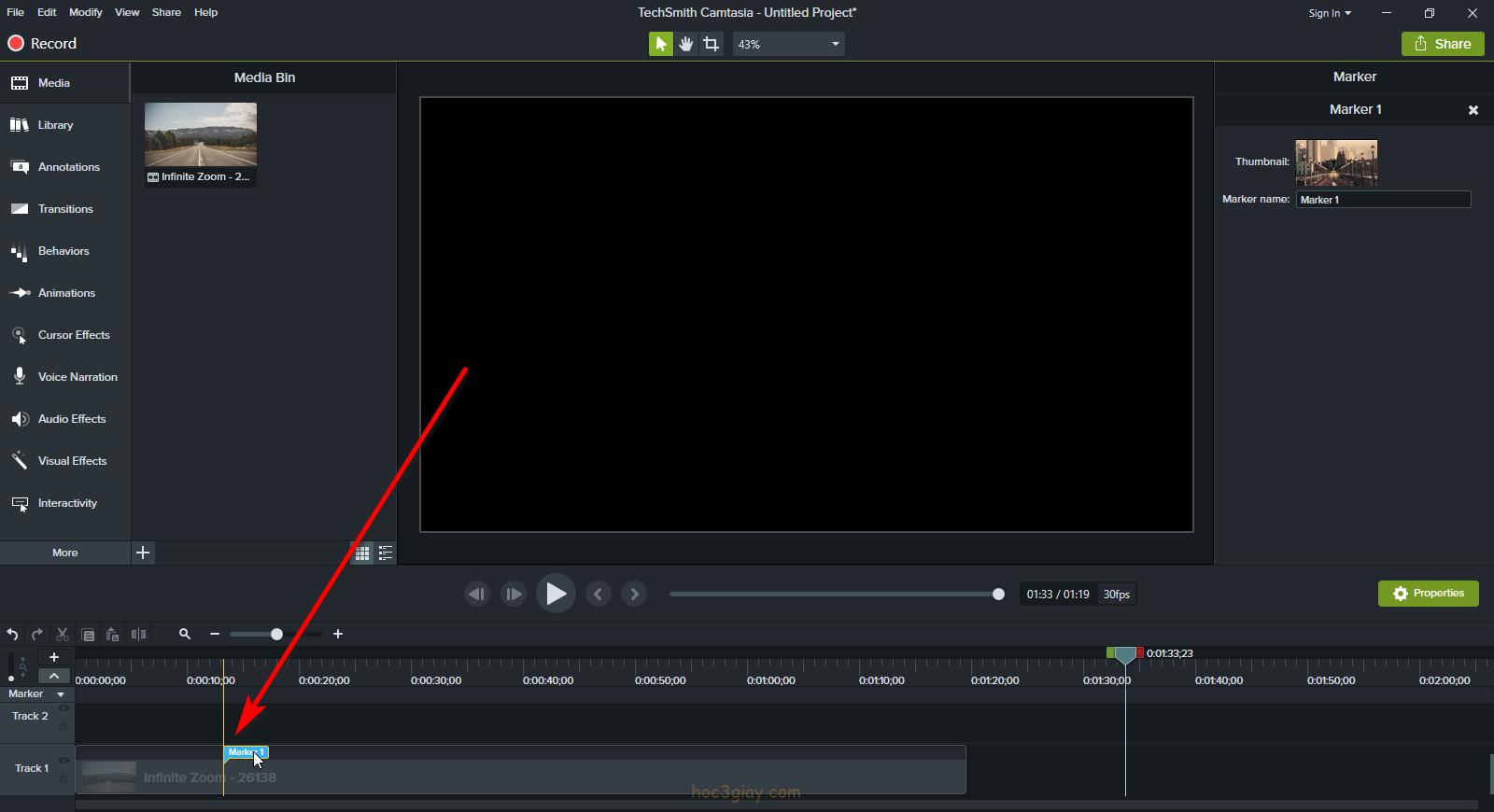 Hướng dẫn đánh dấu vị trí trên video camtasia