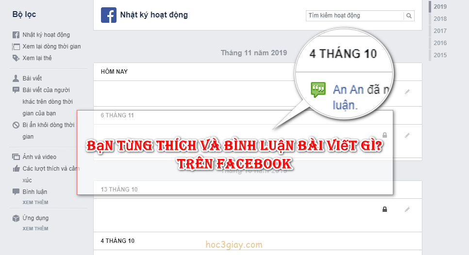 Cách xem lại bình luận và mình đã nhấn thích cái gì trên facebook