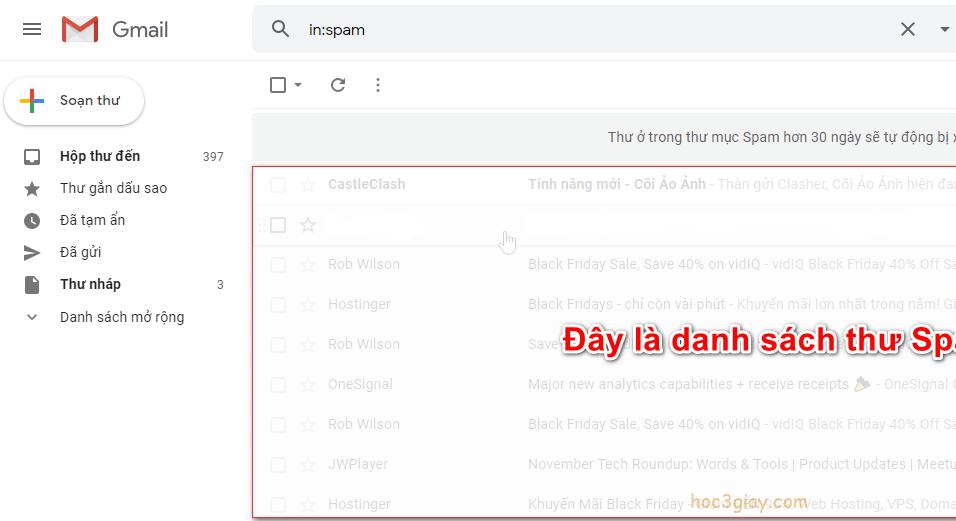 Thư mục Spam nằm ở đâu trên Gmail