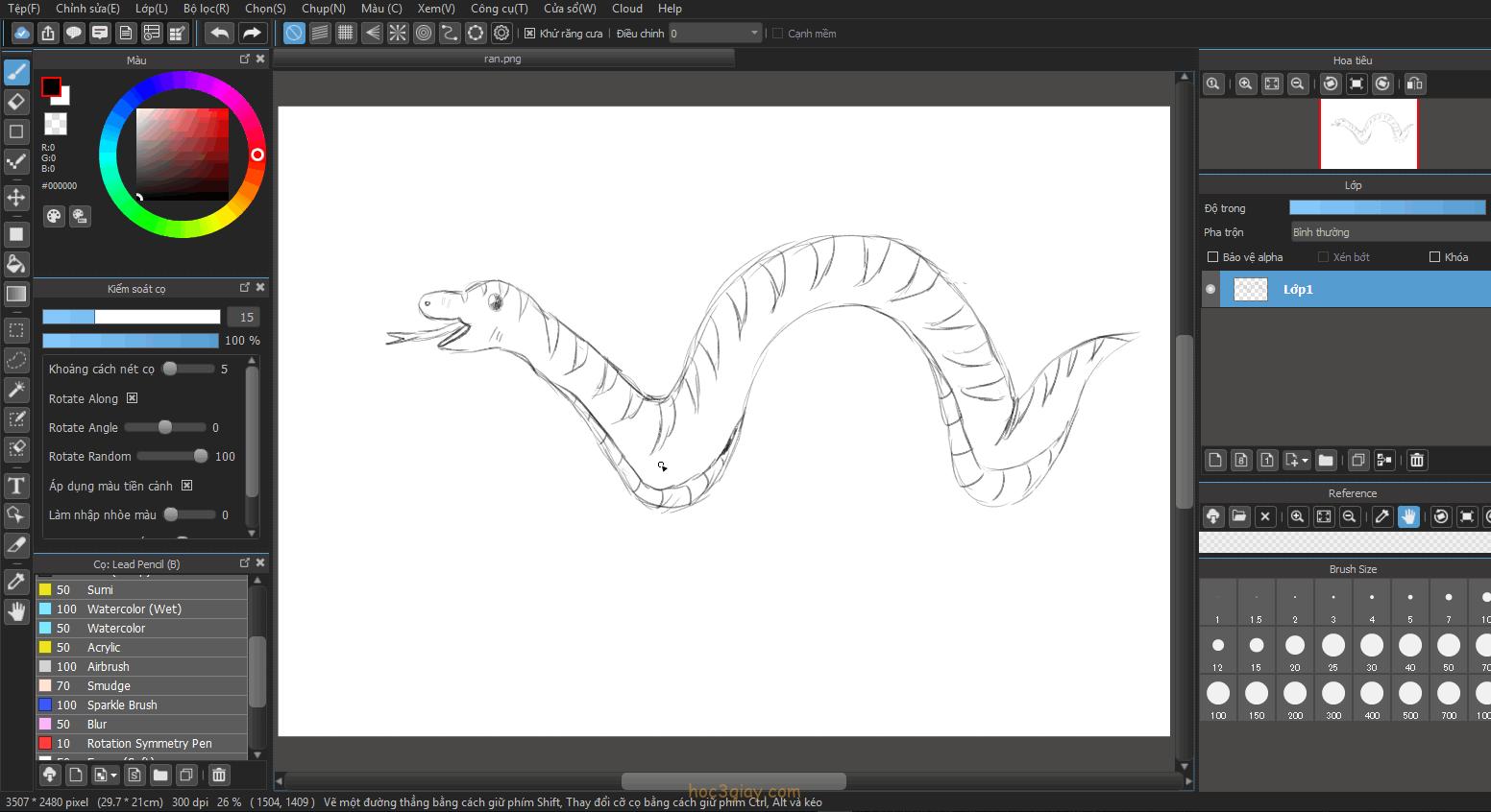 Hướng dẫn vẽ rắn đẹp dễ vẽ