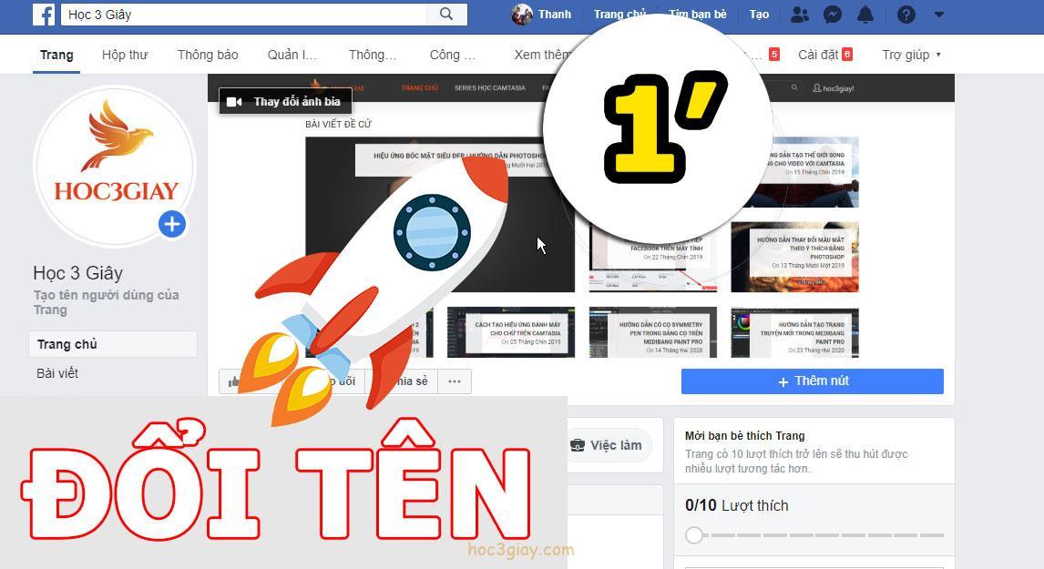 Hướng dẫn đổi tên fanpage facebook đơn giản